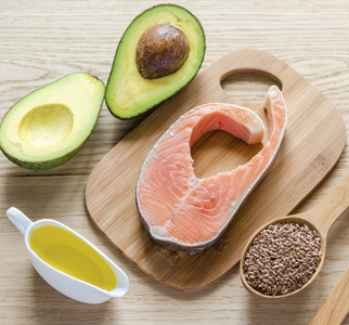 Avocados, salmon, flaxseed, and oil