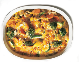cheddar vegetable surprise in a casserole dish